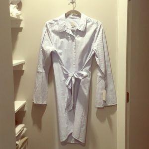 "Blue Striped Tie Front ""Preppy Dress""- NWT- Size M"